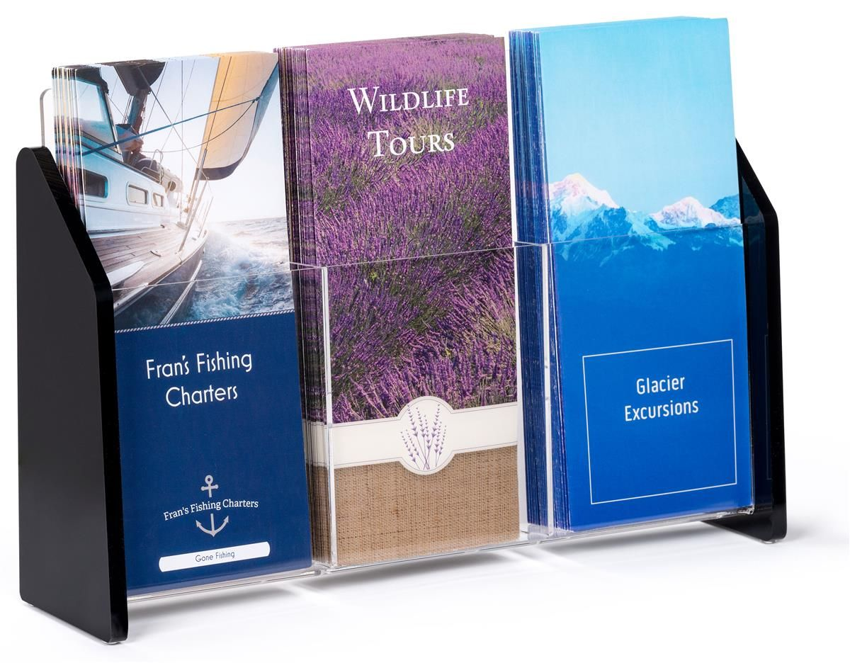 3pocket acrylic brochure holder for tabletop fits 4 x 9