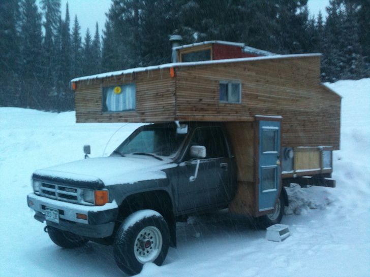 Diy Truck Camper Made From Reclaimed Materials Slide In Truck