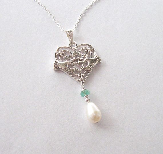Irish Claddagh Necklace Freshwater Pearl and by SendingLoveGallery