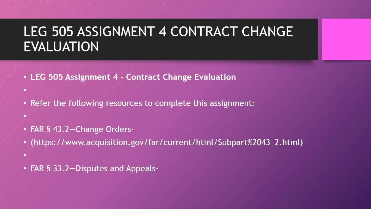 Leg  Assignment  Contract Change Evaluation HttpsYoutuBe