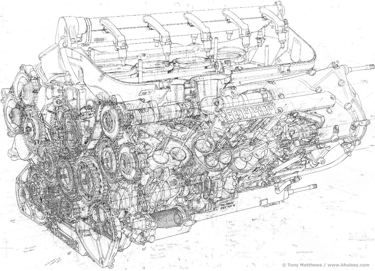 Complete Ferrari F1 Engine Drawing by T Matthews | Engine ...