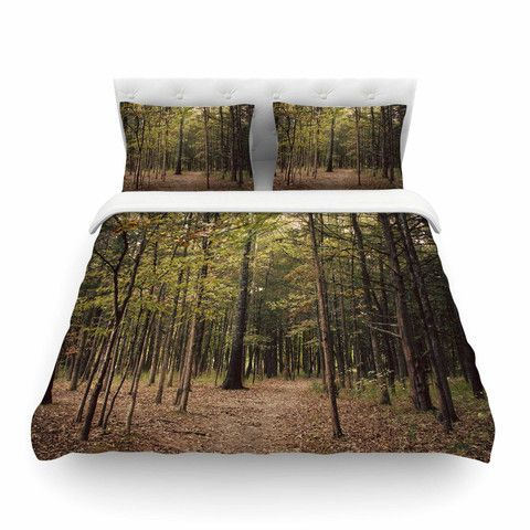 """Sylvia Coomes """"Forest Trees"""" Green Brown Cotton Duvet Cover"""
