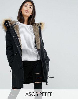 offer discounts entire collection uk cheap sale PETITE Parka with Detachable Faux Fur Liner   winter vibes ...