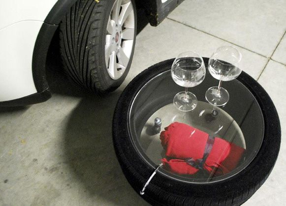 Tires transformed into stylish tables by Italian design studio