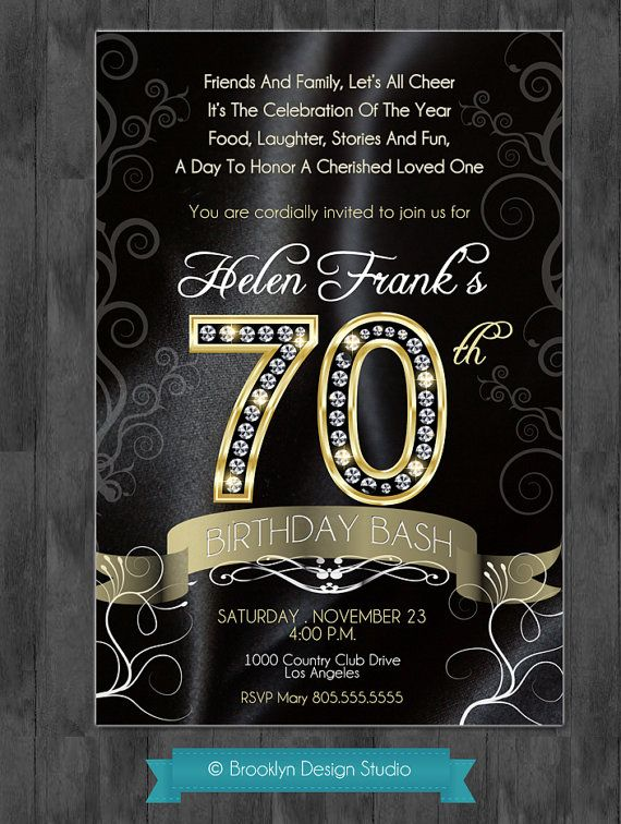 Pin By Leanna Sullivan On Parties 70th Birthday Invitations 70th Birthday Parties Birthday Party Invitation Wording