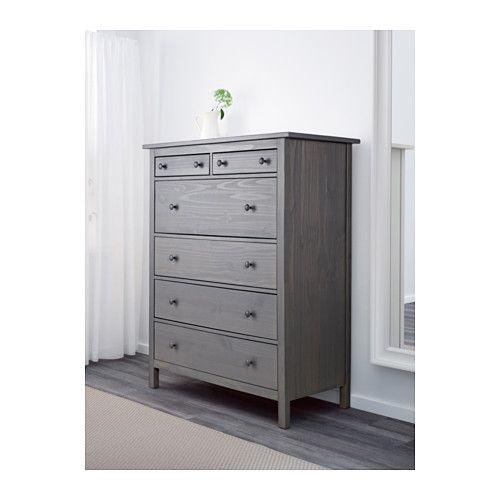 Hemnes 6 Drawer Chest Dark Gray Stained Ikea
