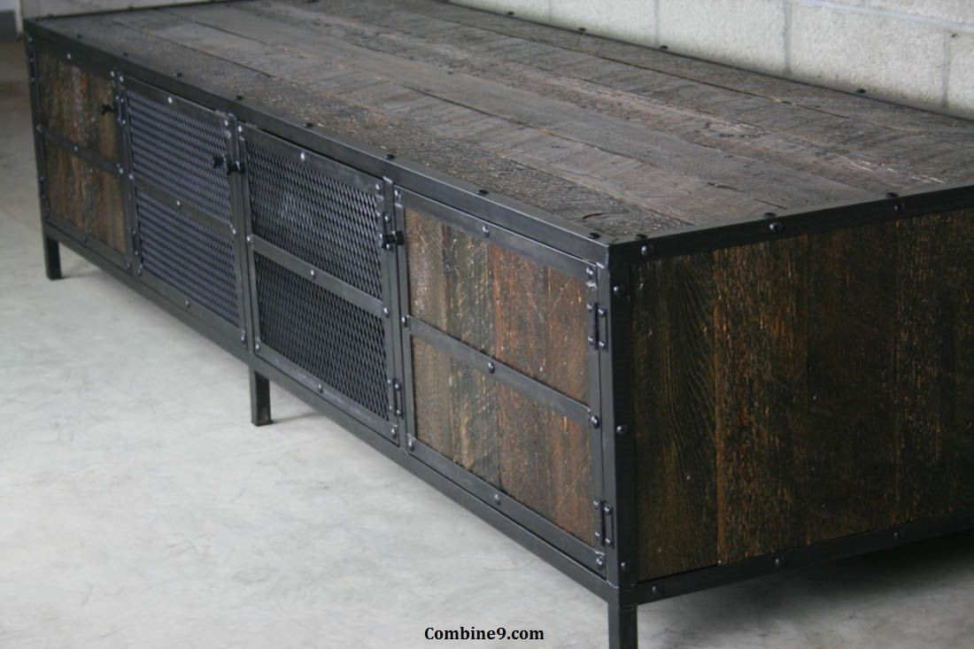 media console credenza urban modern industrial vintage industrial design reclaimed wood. Black Bedroom Furniture Sets. Home Design Ideas