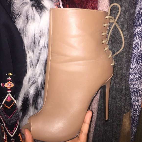 Tan peep toe booties Worn a few times . In good condition! Go Jane Shoes Ankle Boots & Booties
