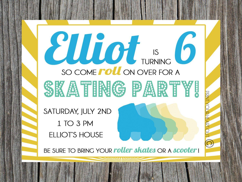 Roller skating rink woodbridge nj - Roller Skating Birthday Party Invitation Printable