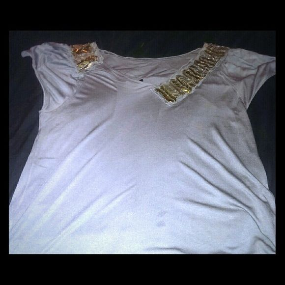 Fendi blouse Embellished collared short sleeve gray blouse.. Great for work or a night out. FENDI Tops Blouses
