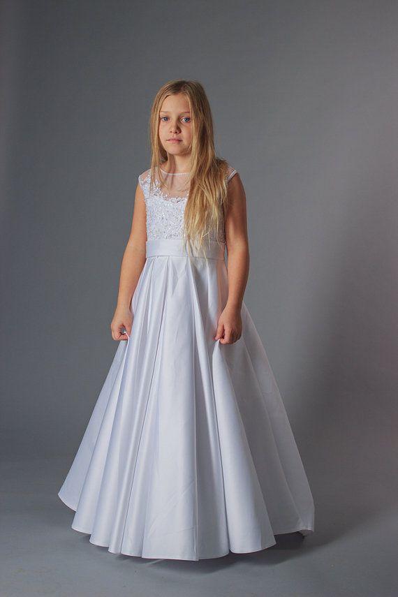 cecd6cb9e70 Find More Flower Girl Dresses Information about Taffeta Beading A line Holy  White First Communion Dresses for Girls Sheer Custom Made Flower Girl  Dresses ...