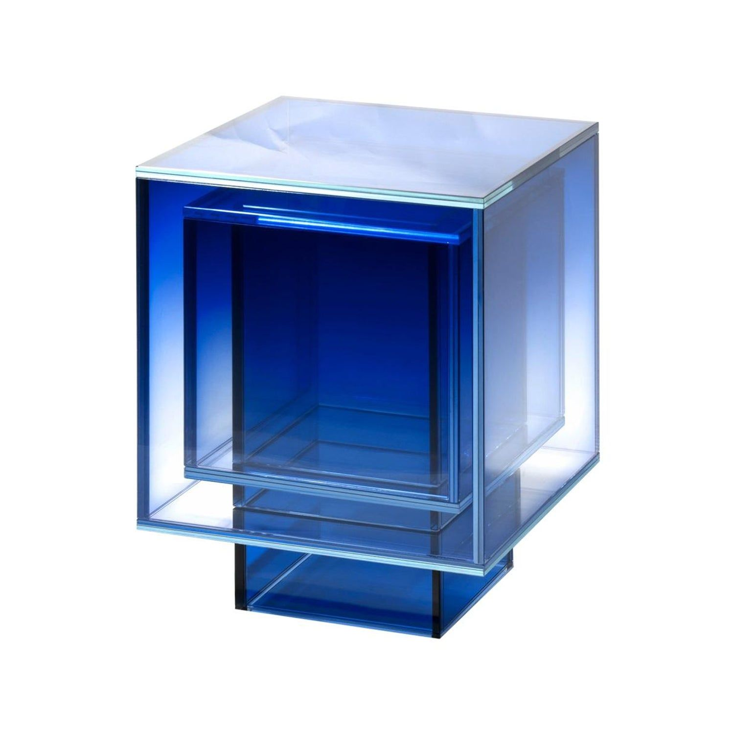 Blue Glass Clear Transition Color Square Table By Studio Buzao