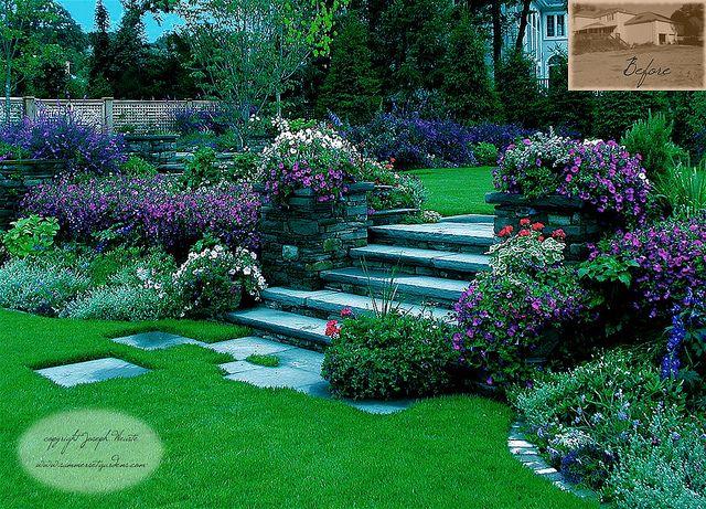 Elegant Garden Steps Lush Perennial Plantings Garden Landscape