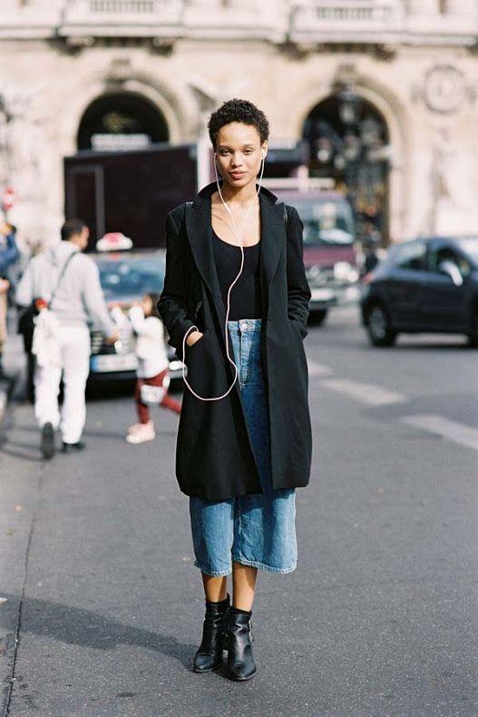 294b7709a62 Long Black Coat   Denim Culottes. Via Vanessa Jackman Denim culottes ...