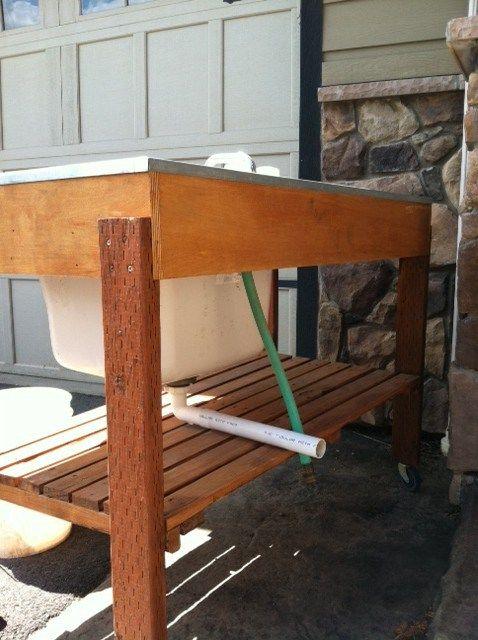 DIY Outdoor Garden Sink | Garden hose, Faucet and Sinks