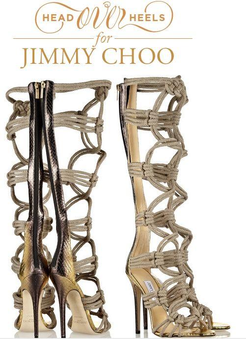 5b0db9d00d5f JIMMY Choo Keane metallic elaphe and rope gladiator heels