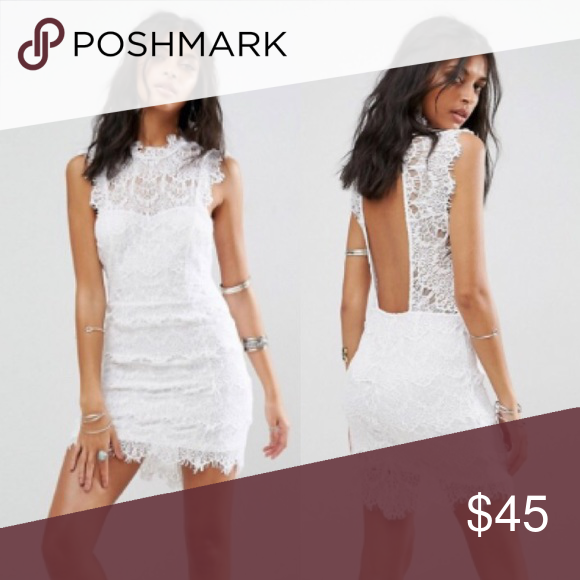 992d13492e3 Free People Daydream Lace Bodycon Dress NWT. A beautiful white lace dress  with an open back. Has a flattering bodycon fit. Free People Dresses