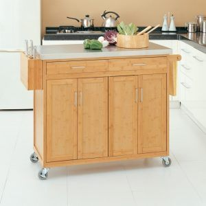 Bamboo Kitchen Island Stainless Steel Top