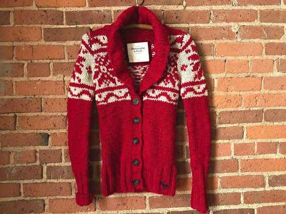 Abercrombie Red Knit Cardigan Snowflake Sweater Wool Blend