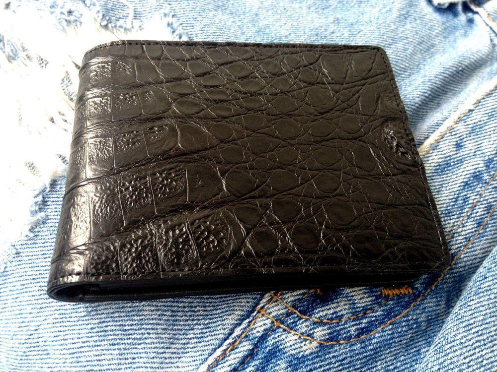 Genuine Real Crocodile Alligator Belly Skin Leather Man Bifold Wallet Black New