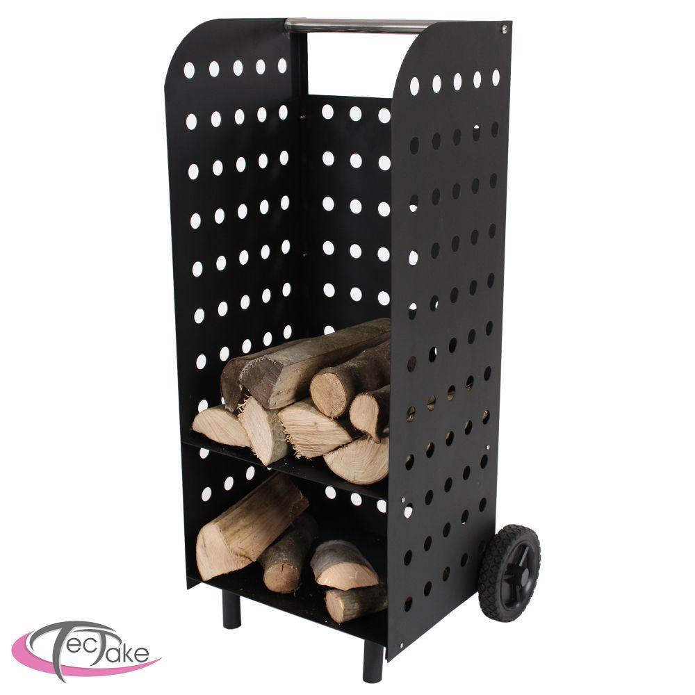 chariot bois de chauffage chemin e panier porte foyer au. Black Bedroom Furniture Sets. Home Design Ideas