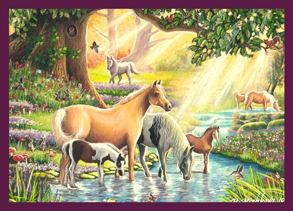 Original ACEO Art Horse Foal Cute Flower Garden Animals