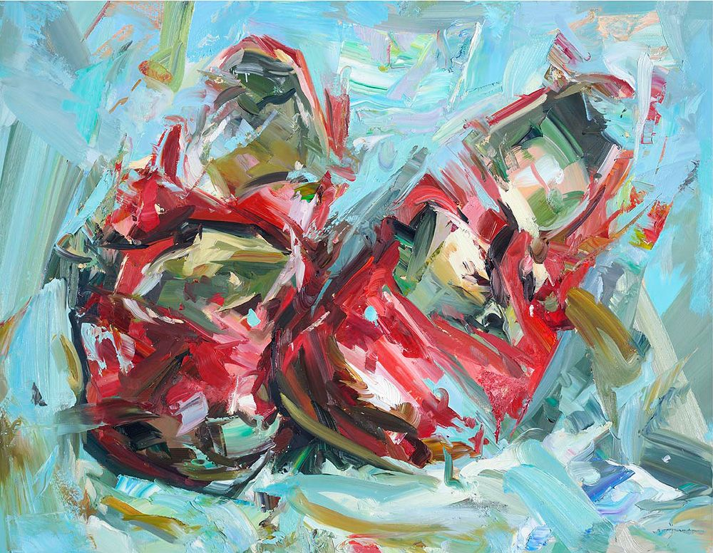 """Paul Wright, Big Red Shoes, oil on canvas, 27"""" x 35"""" £5250 