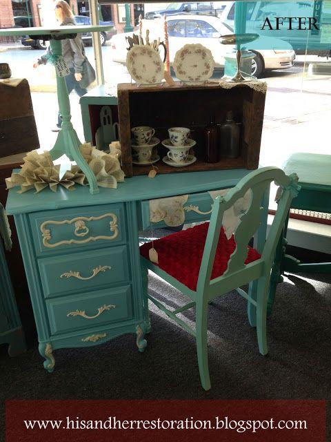 His And Her Restoration Lodi Ca   Furniture Restoration: Fabulous Blue  Girls French Provincial Desk