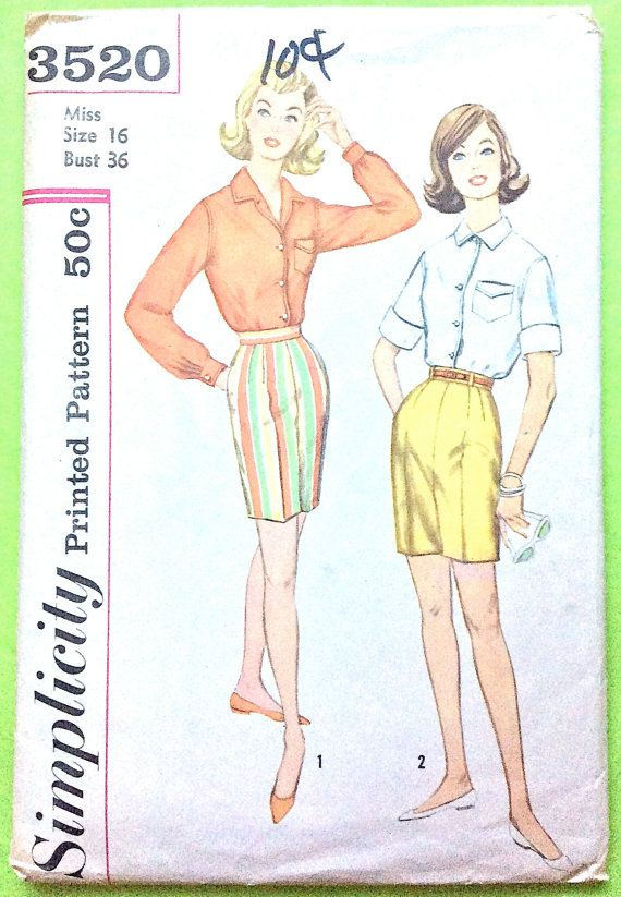 60s Simplicity 60 Blouse And Shorts Pattern Camp Shirt High Delectable High Waisted Shorts Pattern
