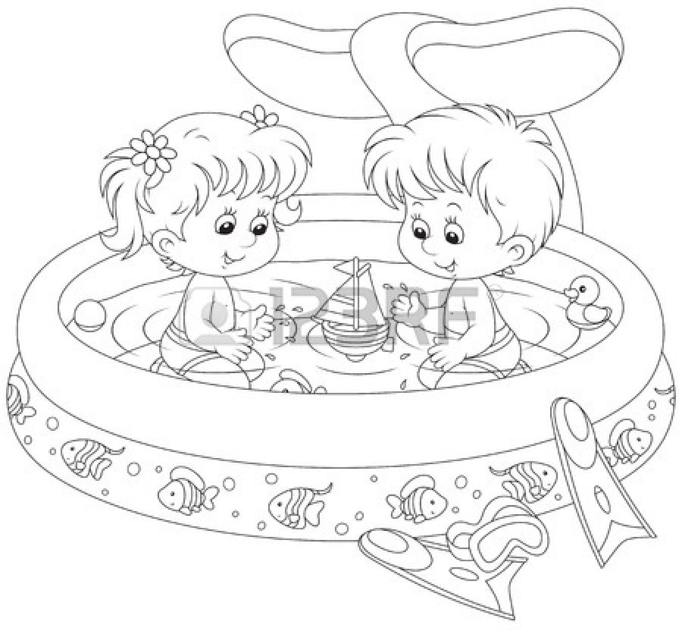 Children In A Kids Pool Cool Coloring Pages Coloring Books Coloring Pages