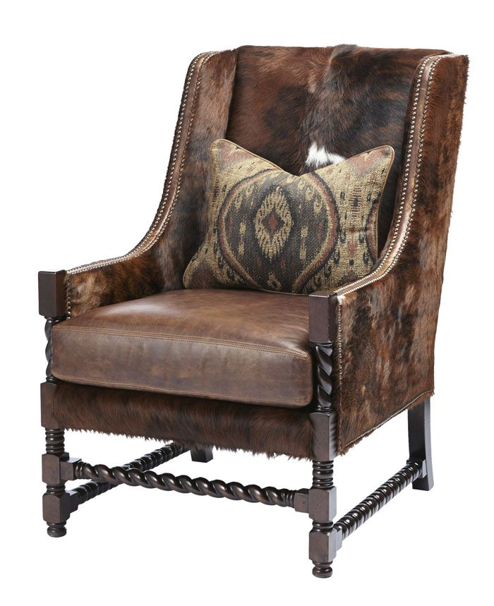 Good Massoud Berkshire Bourbon Accent Chair Western Accent Chairs   Wing Chair  With Twisted Wood Detail Is