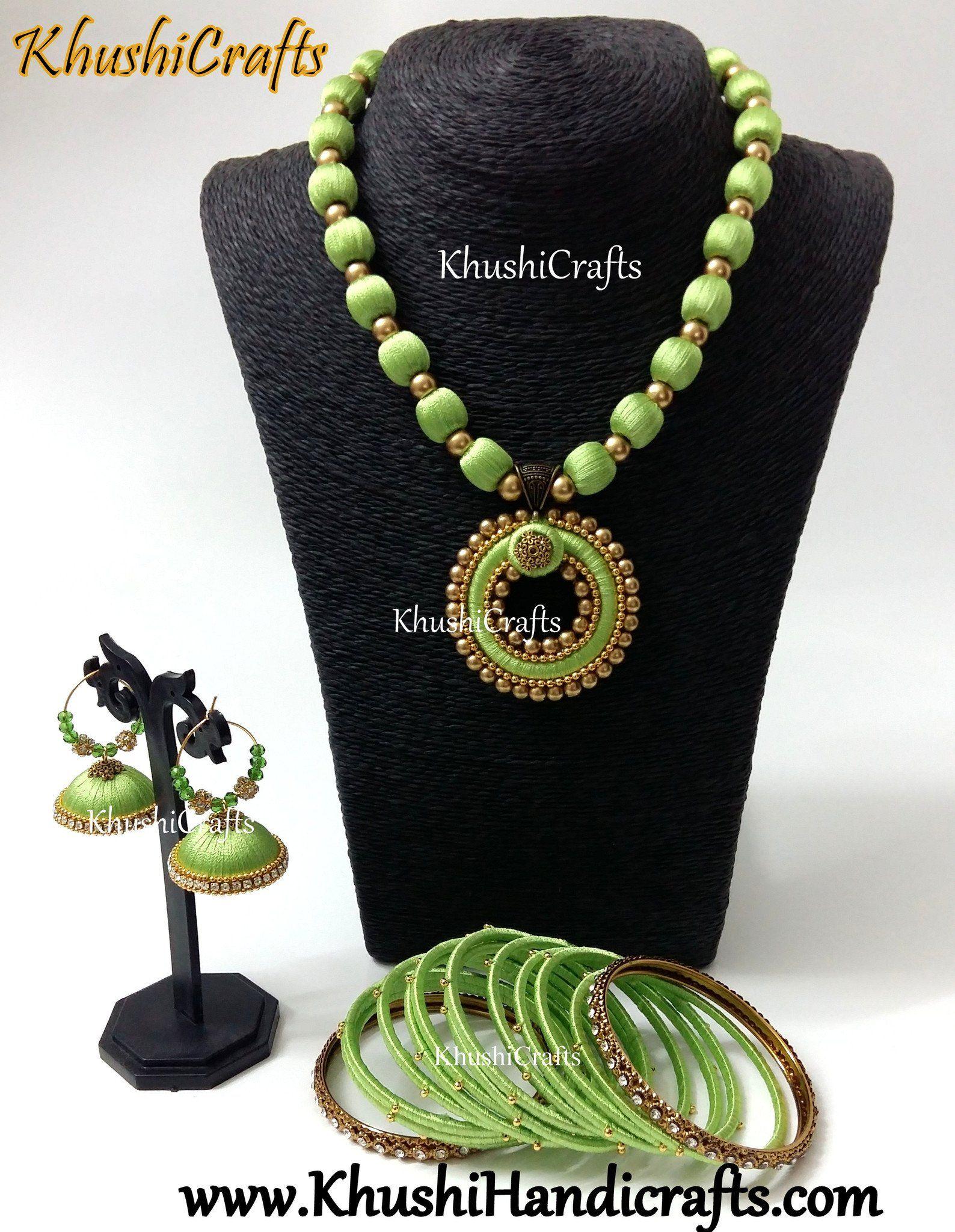 3c10fe309 Pista Green Silk Thread Bridal Necklace set   Silk thread Handmade ...