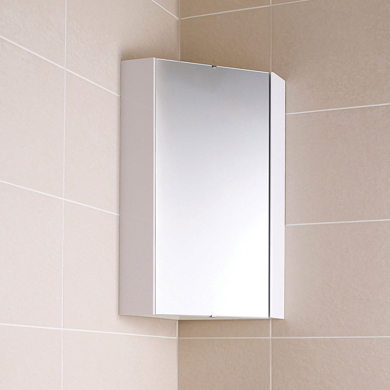 Design White Gloss Corner Mirror Cabinet