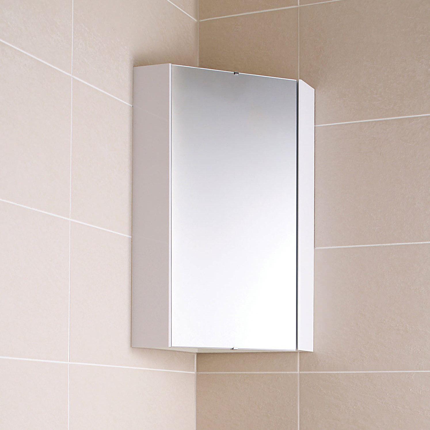 Ultra Design White Gloss Corner Mirror Cabinet | Corner mirror ...