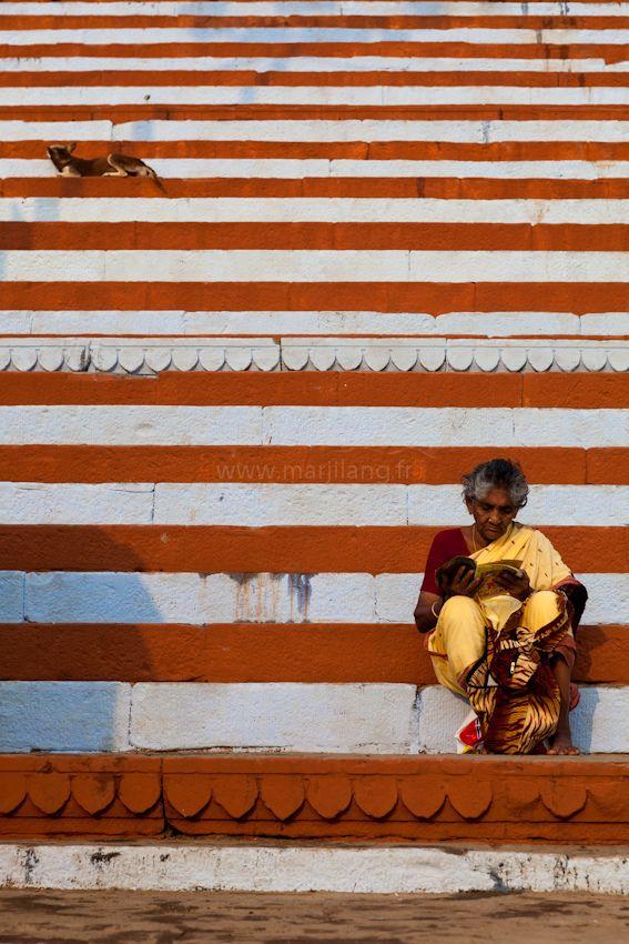 https://flic.kr/p/dL69BM | Lines, Varanasi | Pilgrim and resting dog on a ghat of Benares by the Ganges river, Varanasi, Uttar Pradesh, India. Website | Archive | Facebook | Google+ | Blog