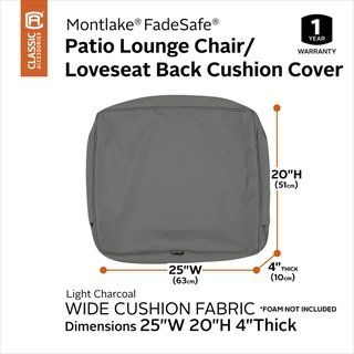 Montlake Fadesafe Patio Lounge Back Cushion Slip Cover 4 Thick