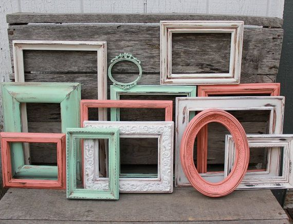 Set of 13 Upcycled Picture Frames - Mint Green, White, and Coral ...