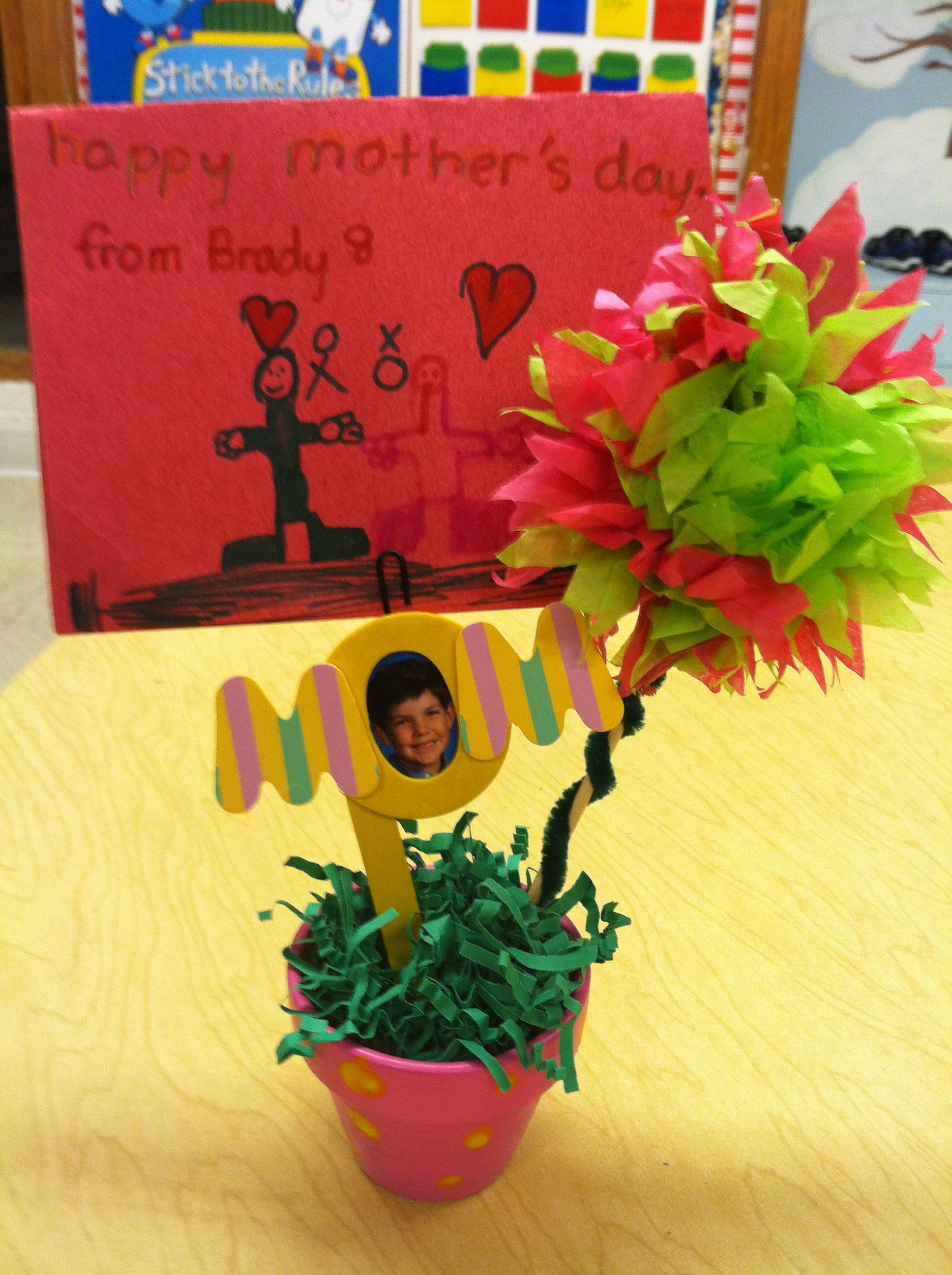 Mothers Day Gift Paint A Small Clay Pot Make Tissue Paper Flowers