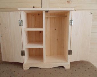 Doll Armoire Fits American 18 Clothes Accesories