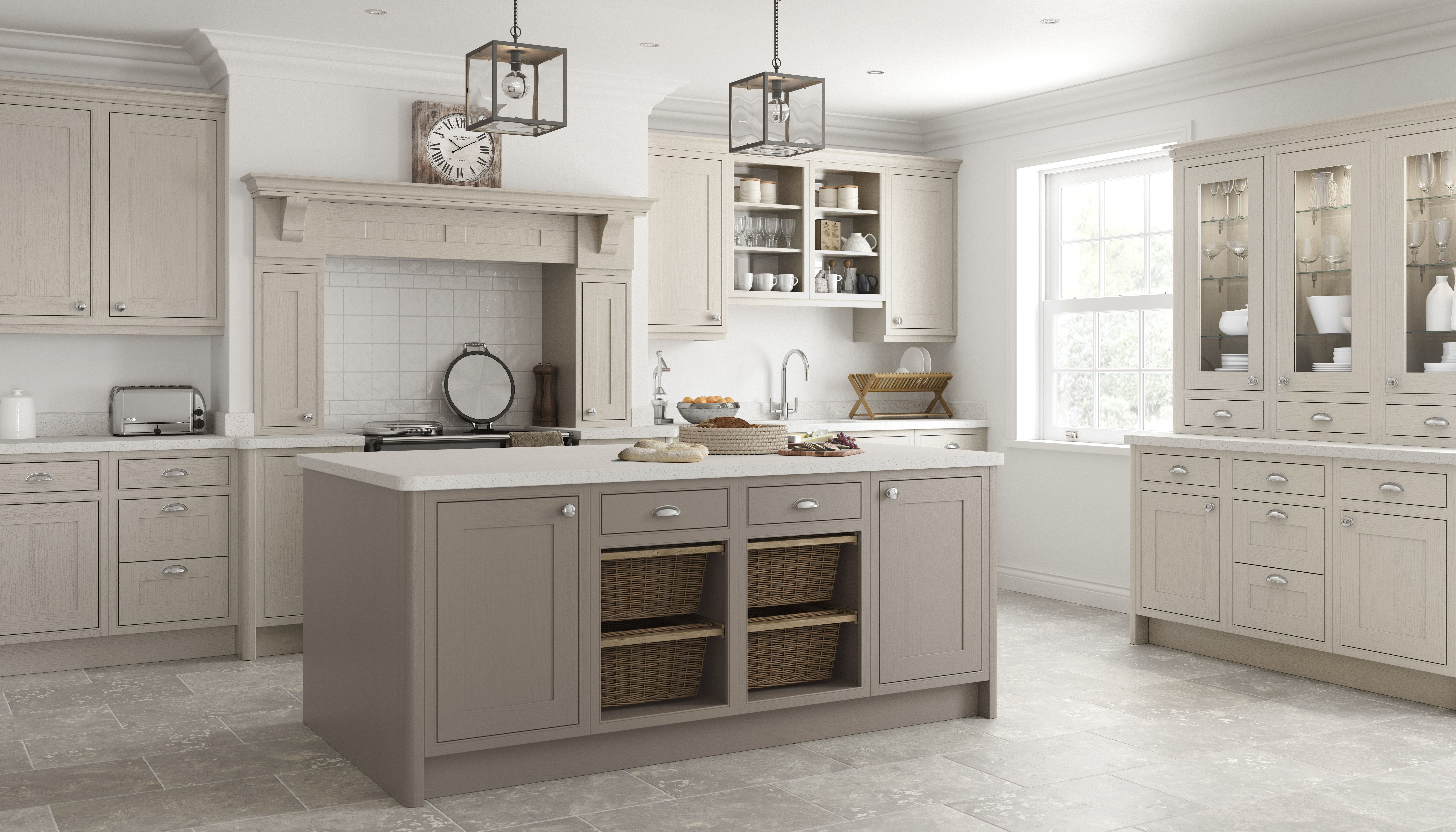 Caffe Latte Pumice Shaker Kitchen Bespoke Kitchens Taupe Kitchen Kitchen Fittings