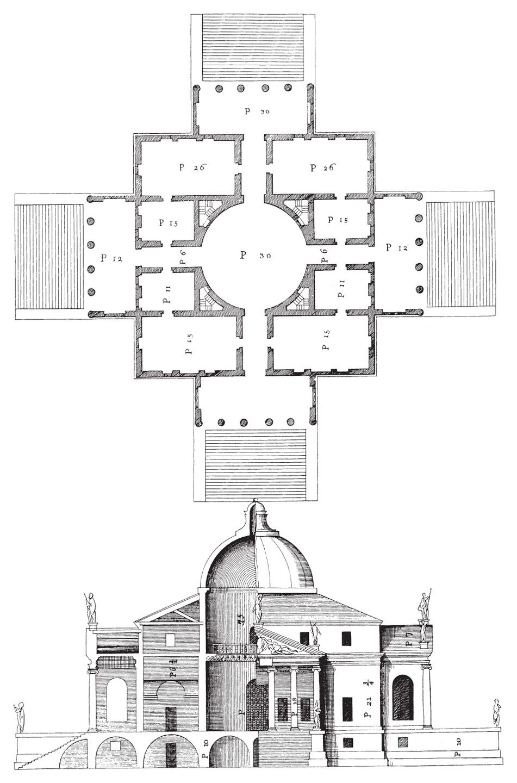 1 124 andrea palladio part elevationsection and plan of the villa rotonda vicenza