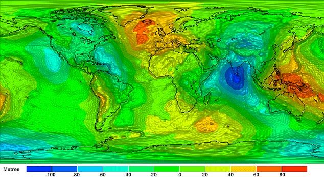 Earth's gravity field as captured by the GOCE satellite gives an unprecedented view of how the force acts on our planet. The differences in gravitational force are represented using colours that show -100 metres up to 100 metres.