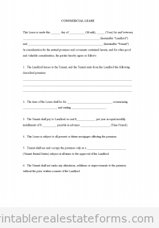 Printable Sample Commercial Lease Form  Generic Sample Templates
