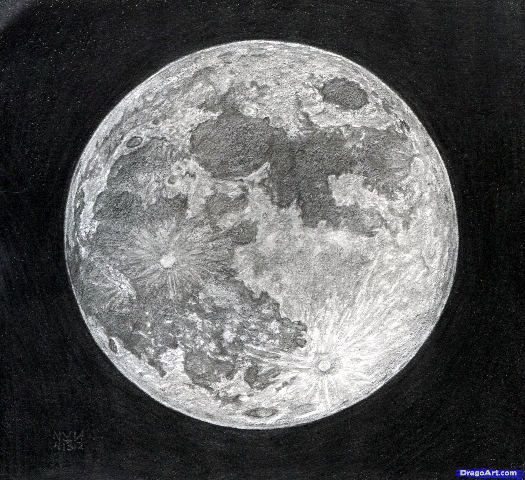 Full Moon Drawing Black And White Pinterest