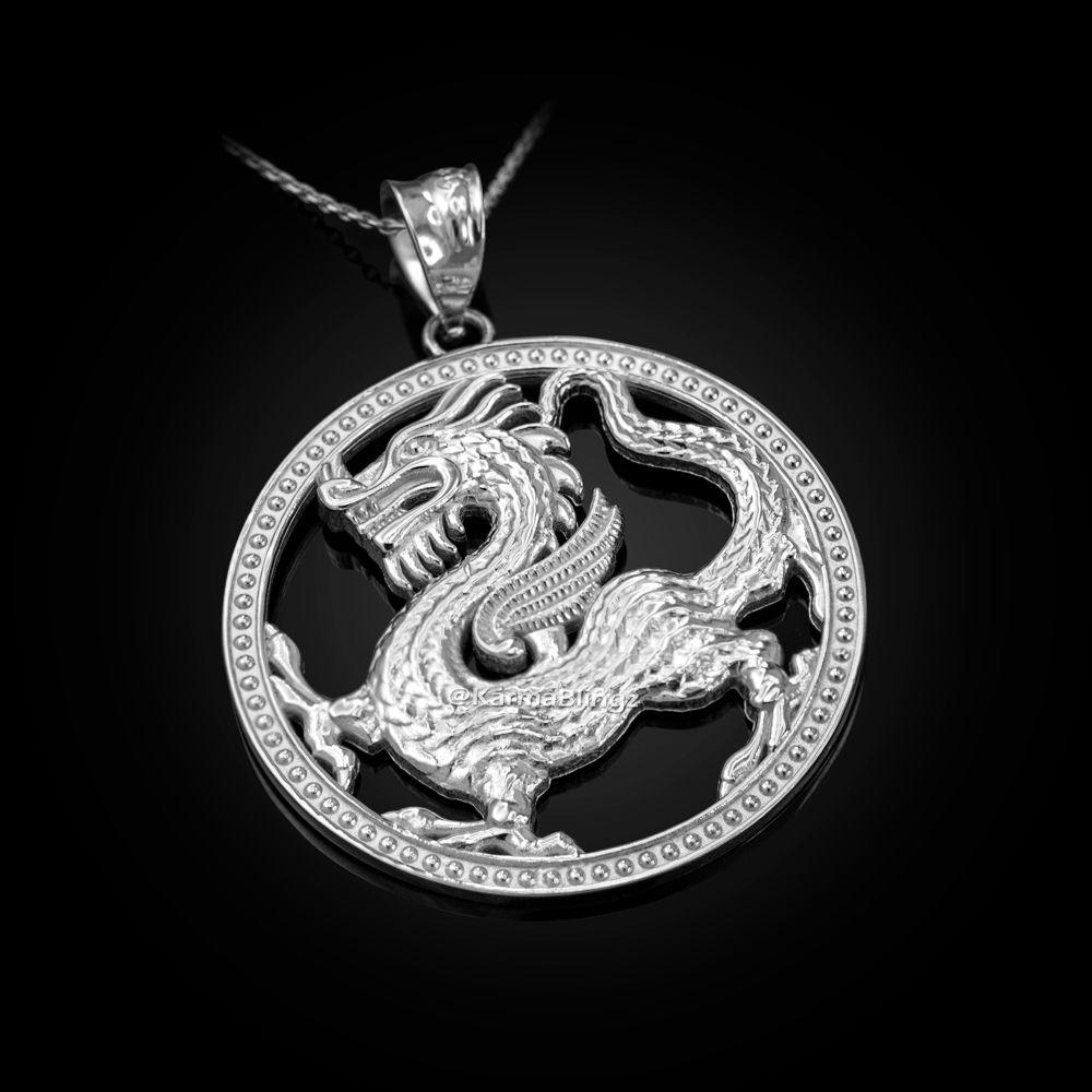 LA BLINGZ 10K White Gold Chinese Dragon Oval Medallion Pendant Necklace