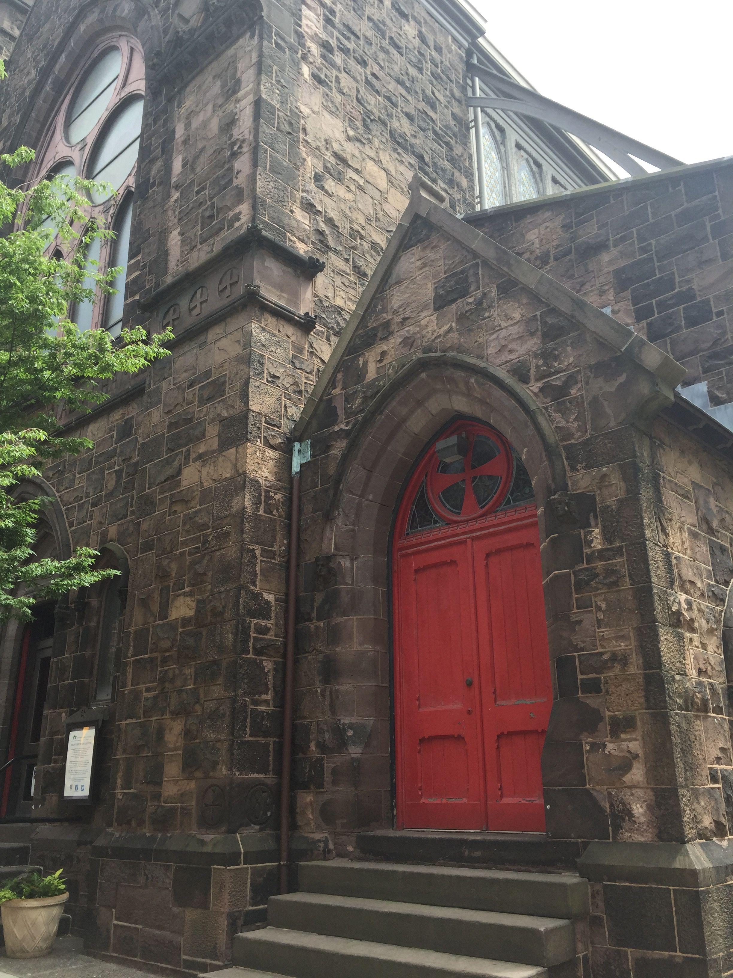 Red Church Door At Trinity Memorial Episcopal Church Philadelphia