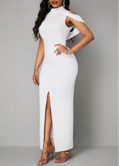 e88129ce3e1 Cold Shoulder White Front Slit Zipper Back Dress