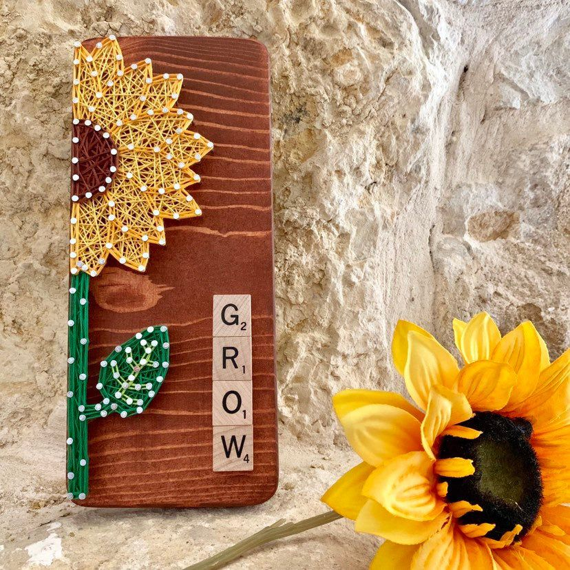 Sunflower String Art, Flower Sign, Wedding Gift, New Home Gift, Nursery Decor, Living Room Wall Art, Letter Tiles, Baby Girl, Gift for Her
