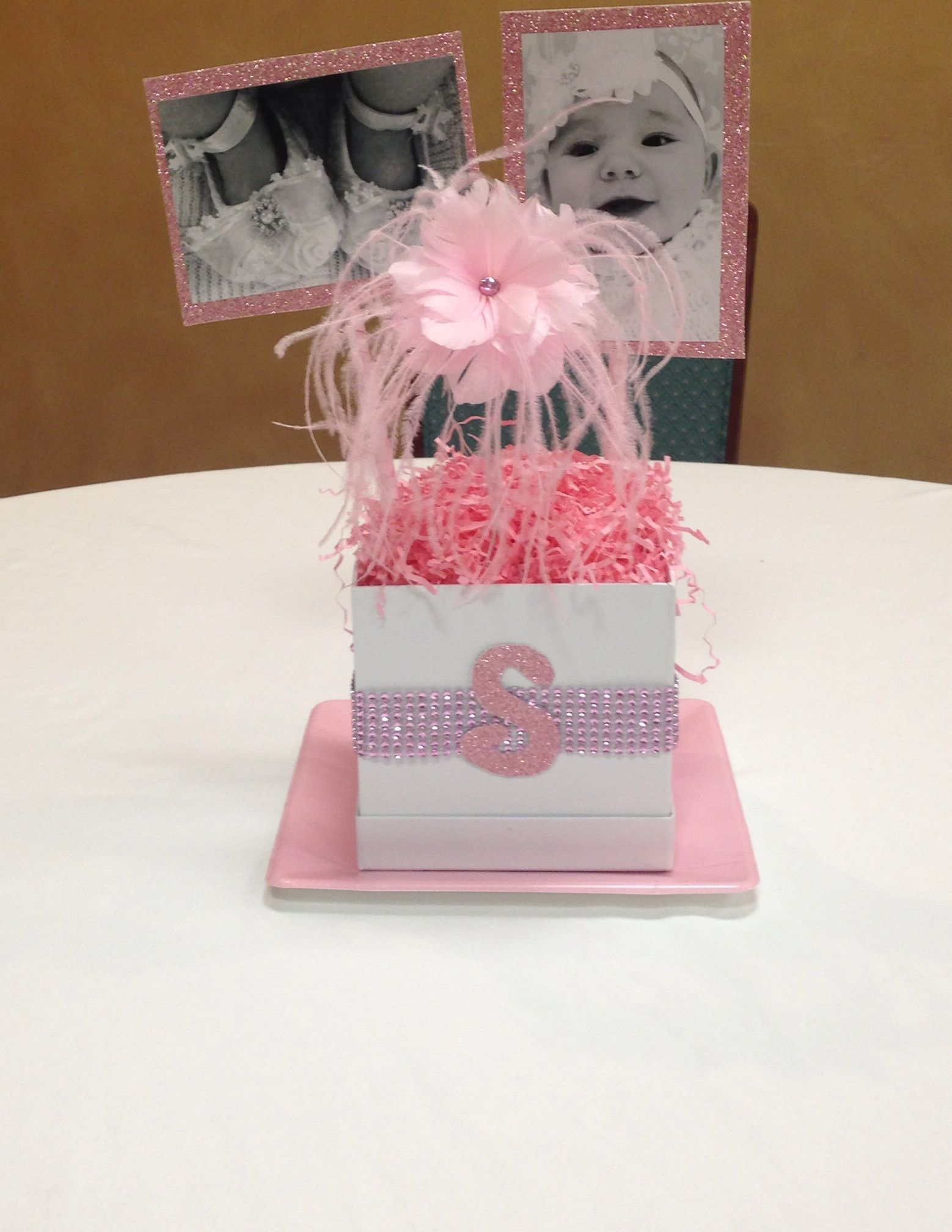 Baby Girl Christening Centerpiece - would make it blue | Gavin\'s ...
