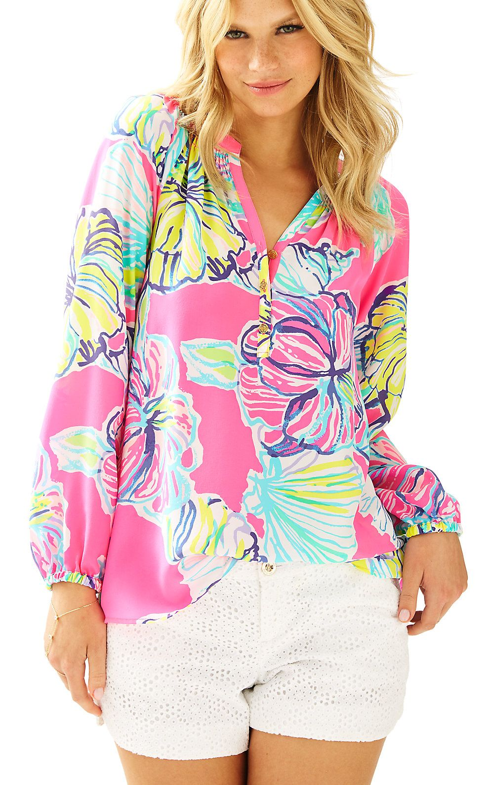 Lilly Pulitzer Womens Elsa Silk Top - Swept By The Tides